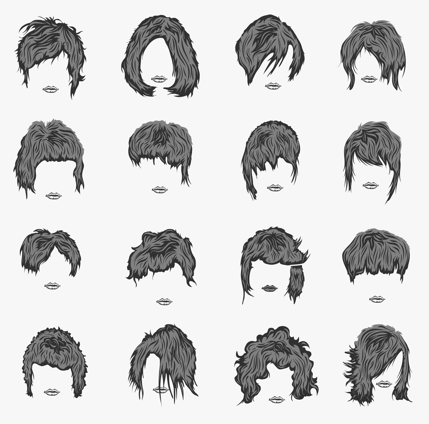vector set of women hairstyles artistically painted